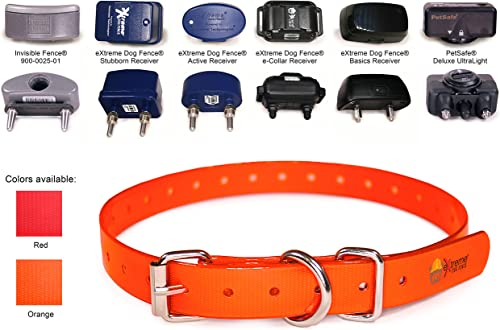 Extreme Dog Fence Heavy Duty TPU Coated Nylon Replacement Collar Strap for Bark and Electric Dog Fence Receivers Waterproof and Adjustable-Compatible with Dogtra Garmin SportDOG PetSafe and More