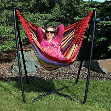 Sunnydaze Hanging Rope Hammock Chair Swing With Space Saving Stand, Sunset    For Indoor Or