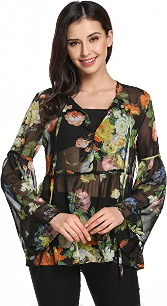 Women Long Bell Sleeve Casual Floral Print Shirt Tops Round Neck Ethnic