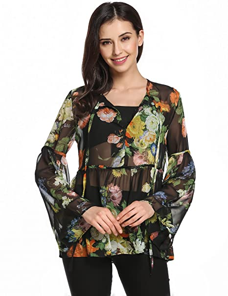4385f3ed894 Zeagoo Women Bohemian Vintage Floral Printed Ethnic Loose Casual Blouse  Black S
