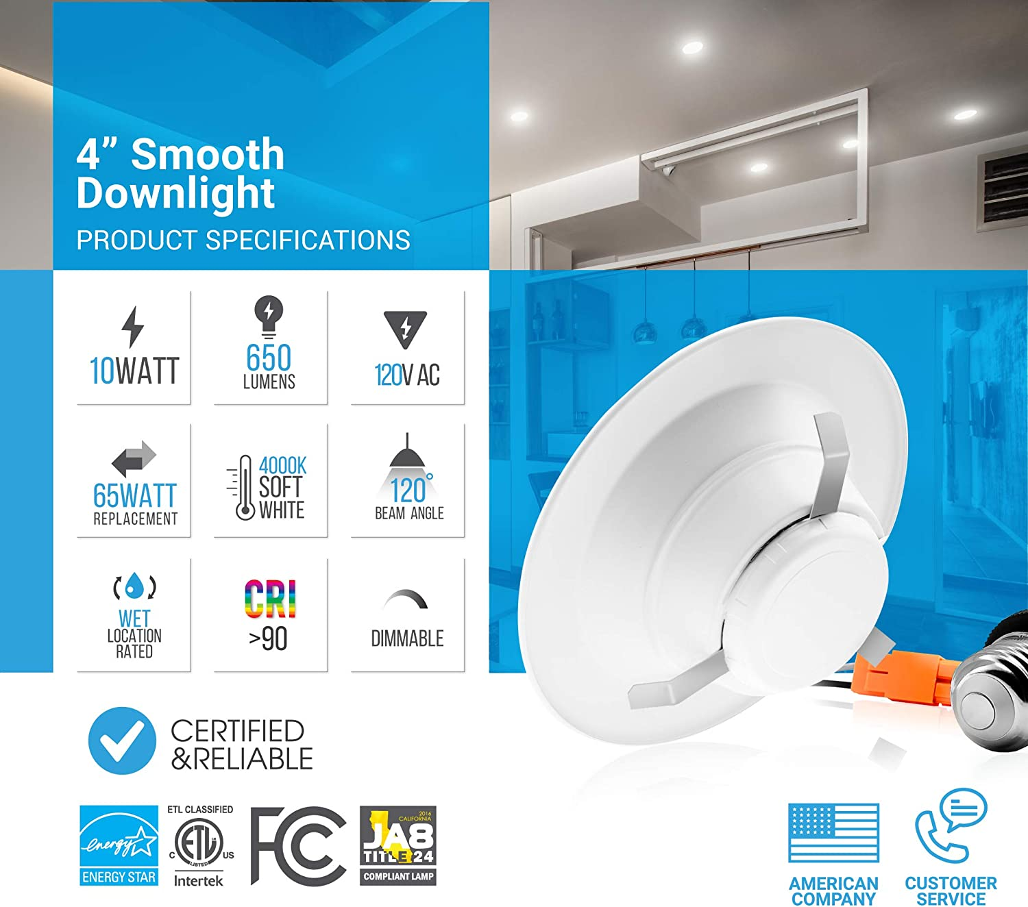 4 Inch Dimmable Led Recessed Retrofit Downlight 4000k 10w