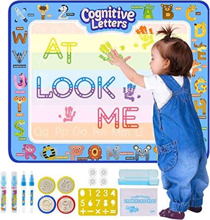 Amazon Com Kangler Aqua Magic Doodle Mat 40 X 32 Inches Extra Large Water Drawing Doodling Mat Coloring Mat Educational Toys Gifts For Kids Toddlers Boys Girls Age 2 3 4 5 6