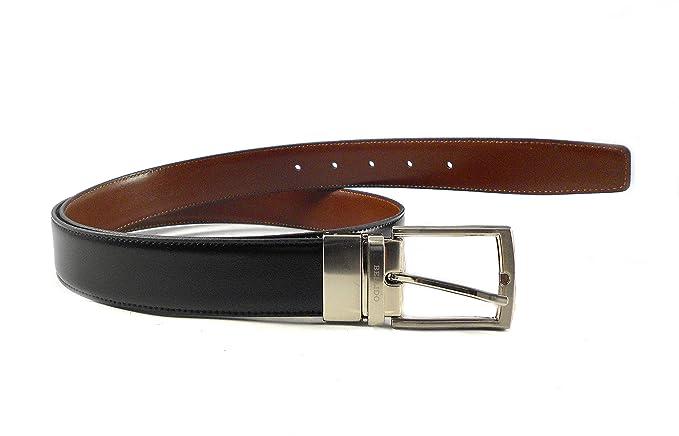 Cinturón hombre piel clásico reversible negro - azul marino Miguel Bellido con hebilla plateada oscura DFUAH
