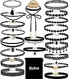 Outee 20 PCS Black Charm Choker Set Velvet Choker Necklaces for Women Girls