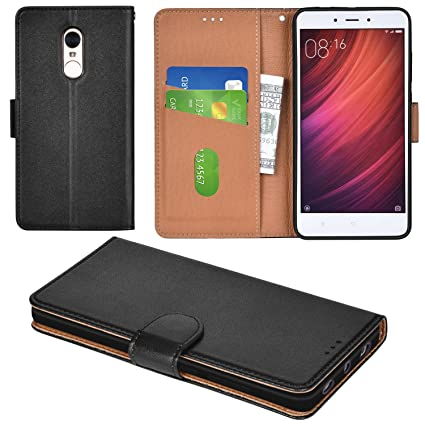 the latest e3290 d9fb8 Aicoco Xiaomi Redmi Note 4 Case Flip Cover Leather Wallet Phone Case for  Xiaomi Redmi Note 4 - Black