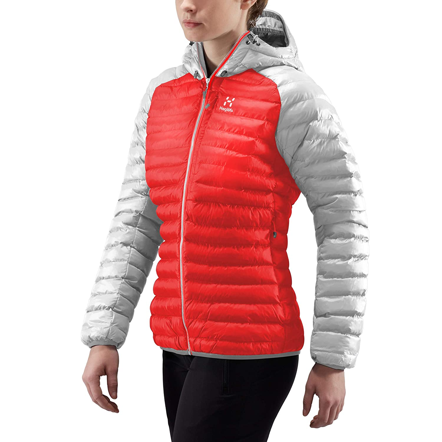 TALLA M. Haglöfs Essens Mimic Hood Chaqueta, Mujer, Pop Red/Haze, M