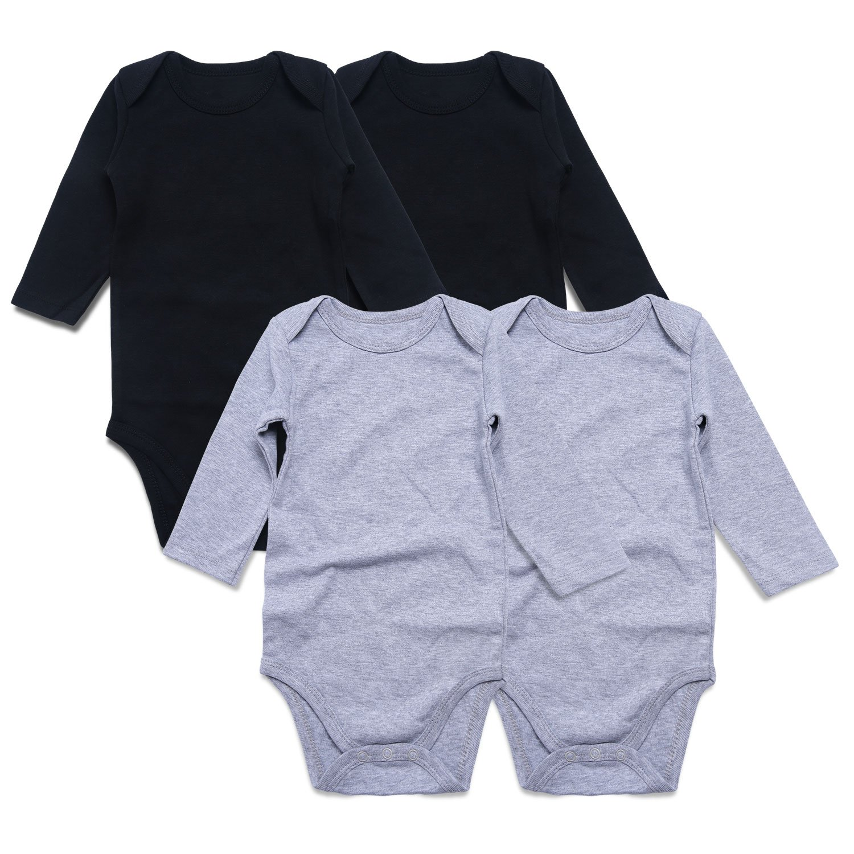 DEFAHN Newborn Baby 4 Pack Long Sleeve Undershirts Bodysuits Tees Shirt