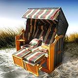 Strandkorb Premium Volllieger Ostsee Gartenliege Sonneninsel Poly-Rattan XXL