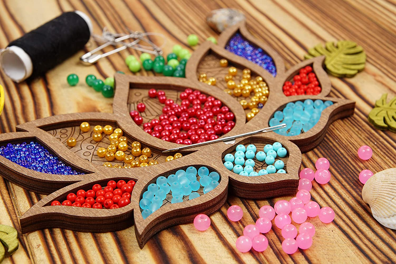 Art Supply Storage Beadwork Craft Gift Jewelry Making Accessory Bead Container Wood Box with Needle Magnet Bead Organizer Wood Lotus