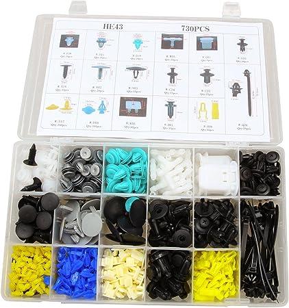 730Pcs Car Body Plastic Push Pin Rivet Fasteners Trim Moulding Clip Kit Set New