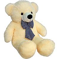 Zitto 3 Feet Huggable Teddy Bear with Neck Bow, Beige