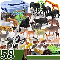 Animals Figure, 58 Piece Mini Jungle Animals Toys Set, Realistic Wild Animal Learning Party Favors Toys For Boys Girls Kids Toddlers Forest Small Animals Playset