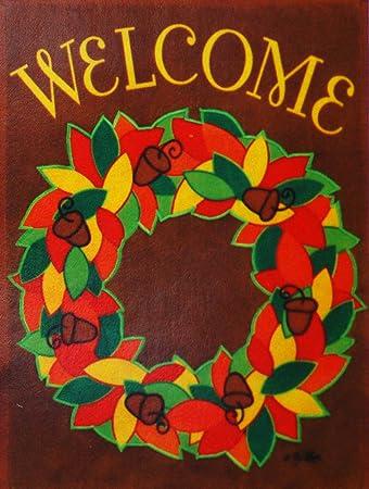 Amazoncom Welcome Autumn Wreath Fall Garden Flag