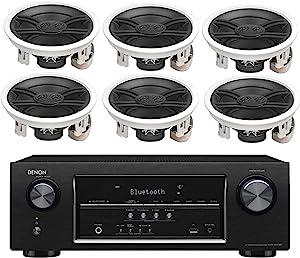Denon 5.2 Channel 700-Watt Full 4K Ultra HD Bluetooth AV Home Theater Receiver + Yamaha High-Performance 3-Way Surround Sound in-Ceiling Speaker System (Set of 6)