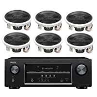 Denon 5.2 Channel 700-Watt Full 4K Ultra HD Bluetooth AV Home Theater Receiver + Yamaha High-Performance 3-Way Surround Sound in-ceiling Speaker System (Set Of 6)