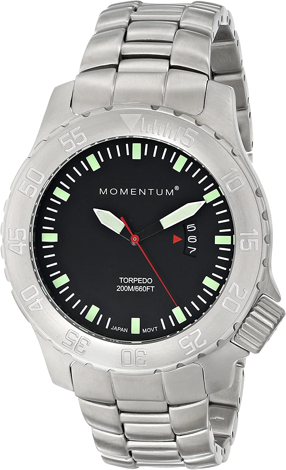 Men s Sports Watch Torpedo Dive Watch by Momentum Stainless Steel Watches for Men Analog Watch with Japanese Movement Water Resistant 200M 660FT Classic Watch – Black 1M-DV74B0