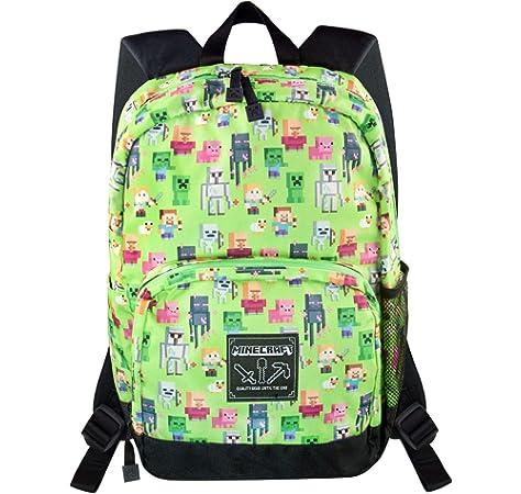 Minecraft Steve Overworld Sprites Green Backpack Polyester Rucksack: Amazon.es: Equipaje