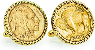 product image for American Coin Treasures Gold-Layered Buffalo Nickel Rope Bezel Cuff Links