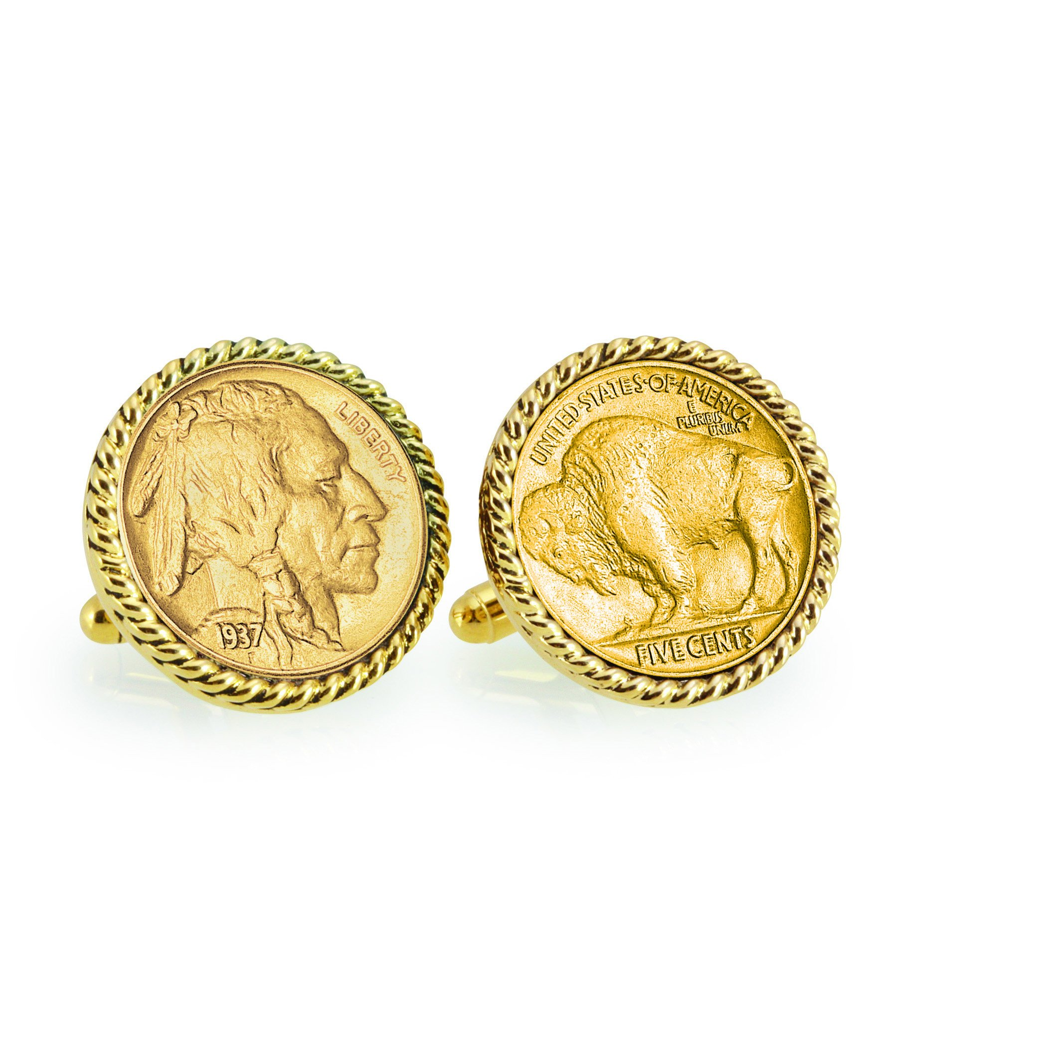 American Coin Treasures Gold-Layered Buffalo Nickel Goldtone Rope Bezel Cuff Links