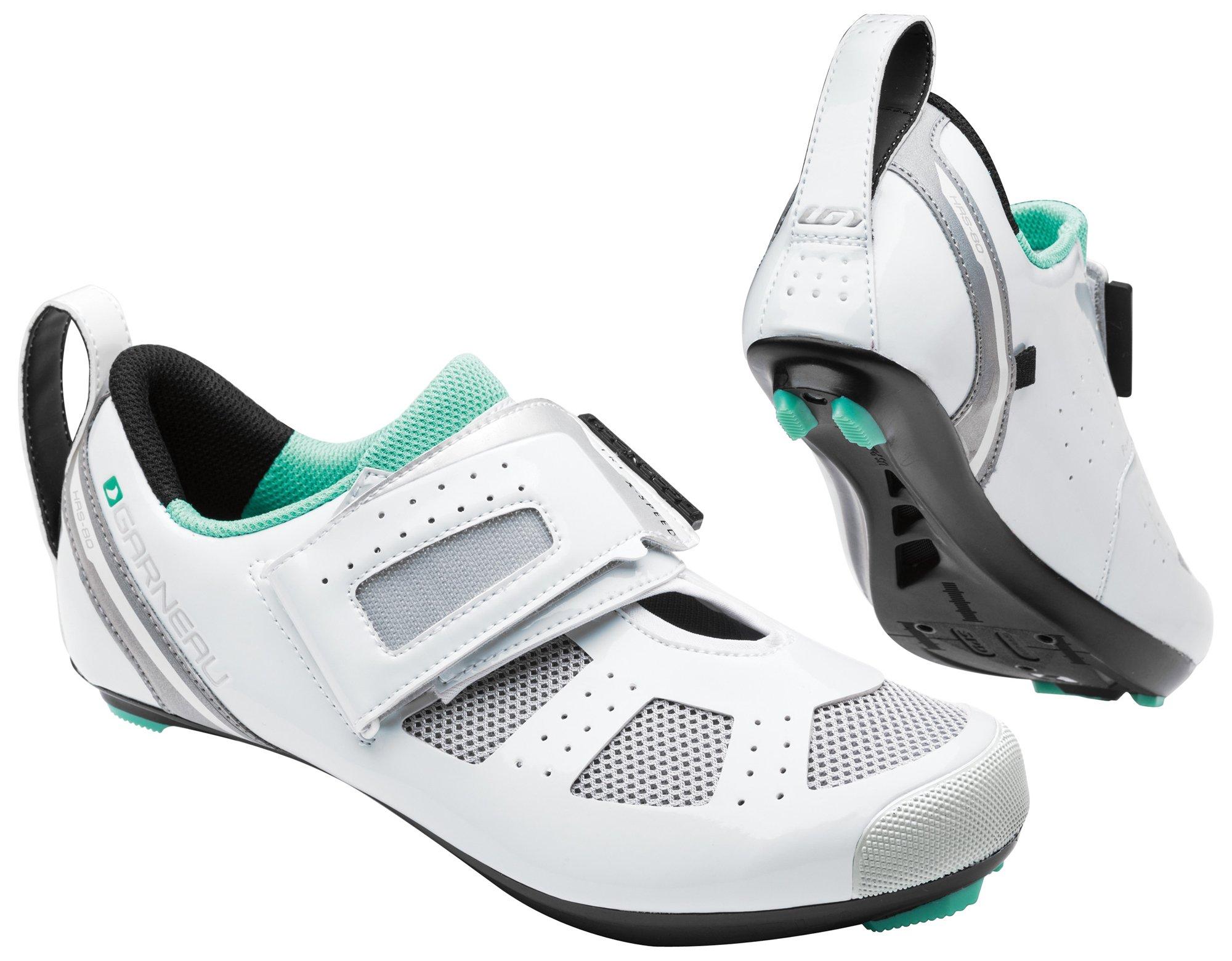 Louis Garneau - Women's Tri X-Speed 3 Triathlon Bike Shoes, White/Mojito, 38