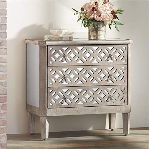 Charly 33 1/4″ Wide Natural Whitewash 3-Drawer Accent Chest