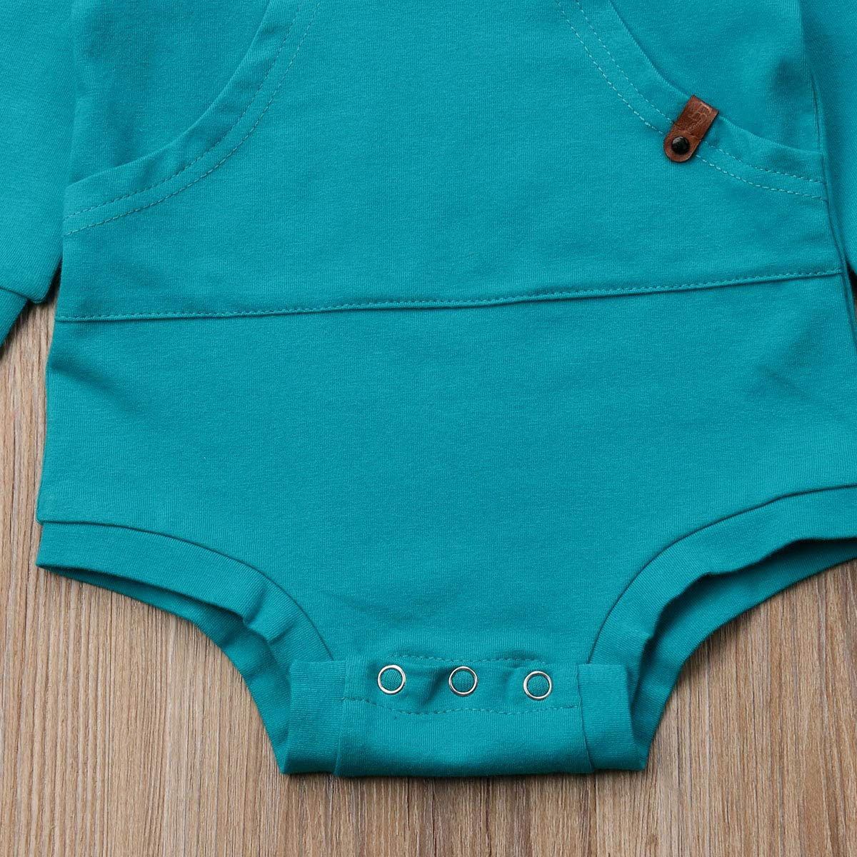 Baby Girl Boy Clothes Top Hoodie Pocket Bodysuit Romper Long Sleeves Outfit Clothing Beige