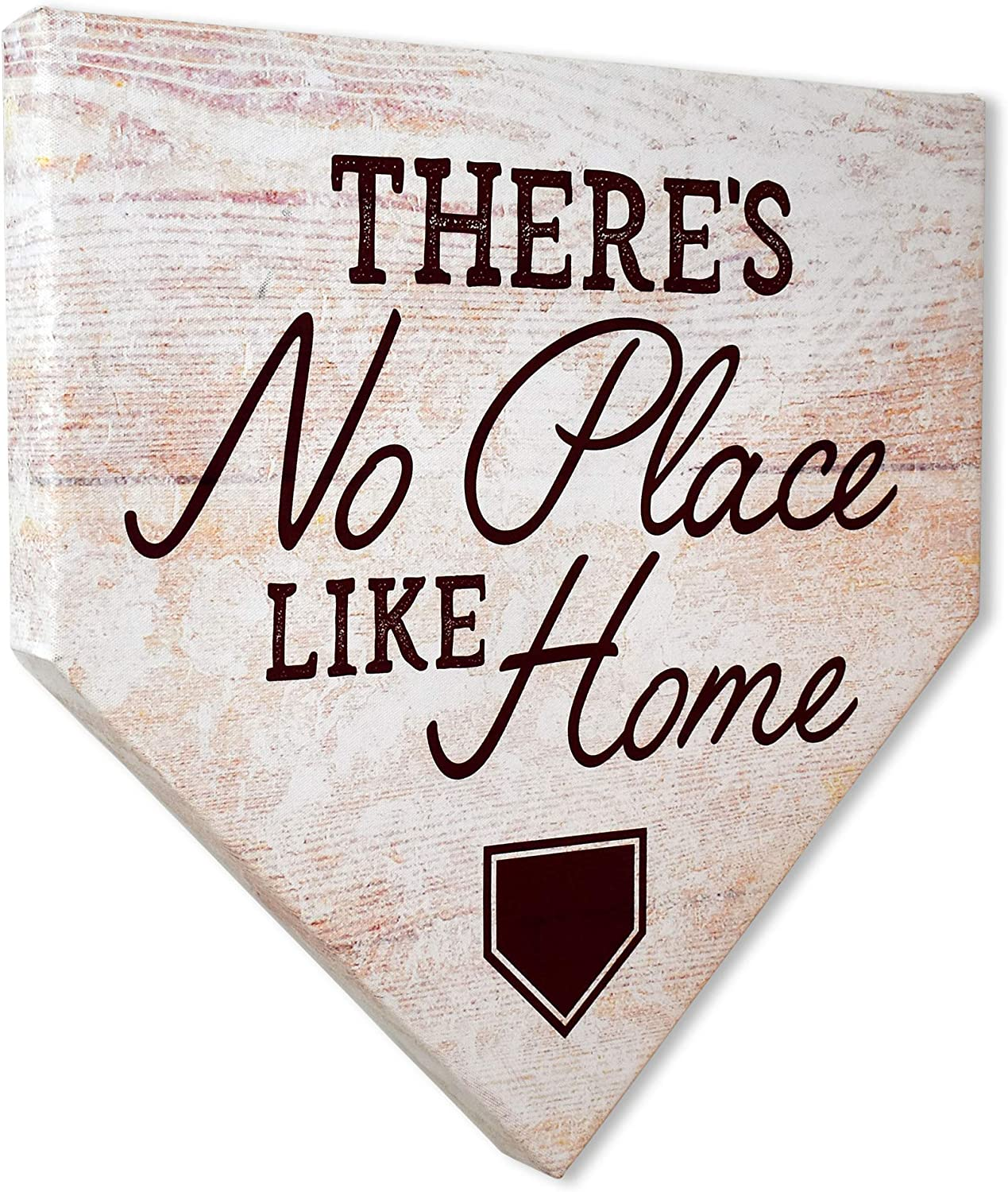 "COLLECTIBLE CANVAS There's No Place Like Home Home Plates, Sports, Wall Art for Bedroom, Nursery, and Other Parts of The House Or Dorm, Wall Decorations with Baseball Or Sports Theme 12"" x 12"" x 1.5"""