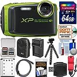 Fujifilm FinePix XP120 Shock & Waterproof Wi-Fi Digital Camera (Lime Green) with 64GB Card + Case + Battery + Charger + Flex Tripod + Strap + Kit