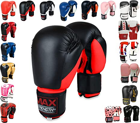 Leather Boxing Gloves Sparring Punch Bag Grappling Mitts Pads 4 OZ  to 16 OZ