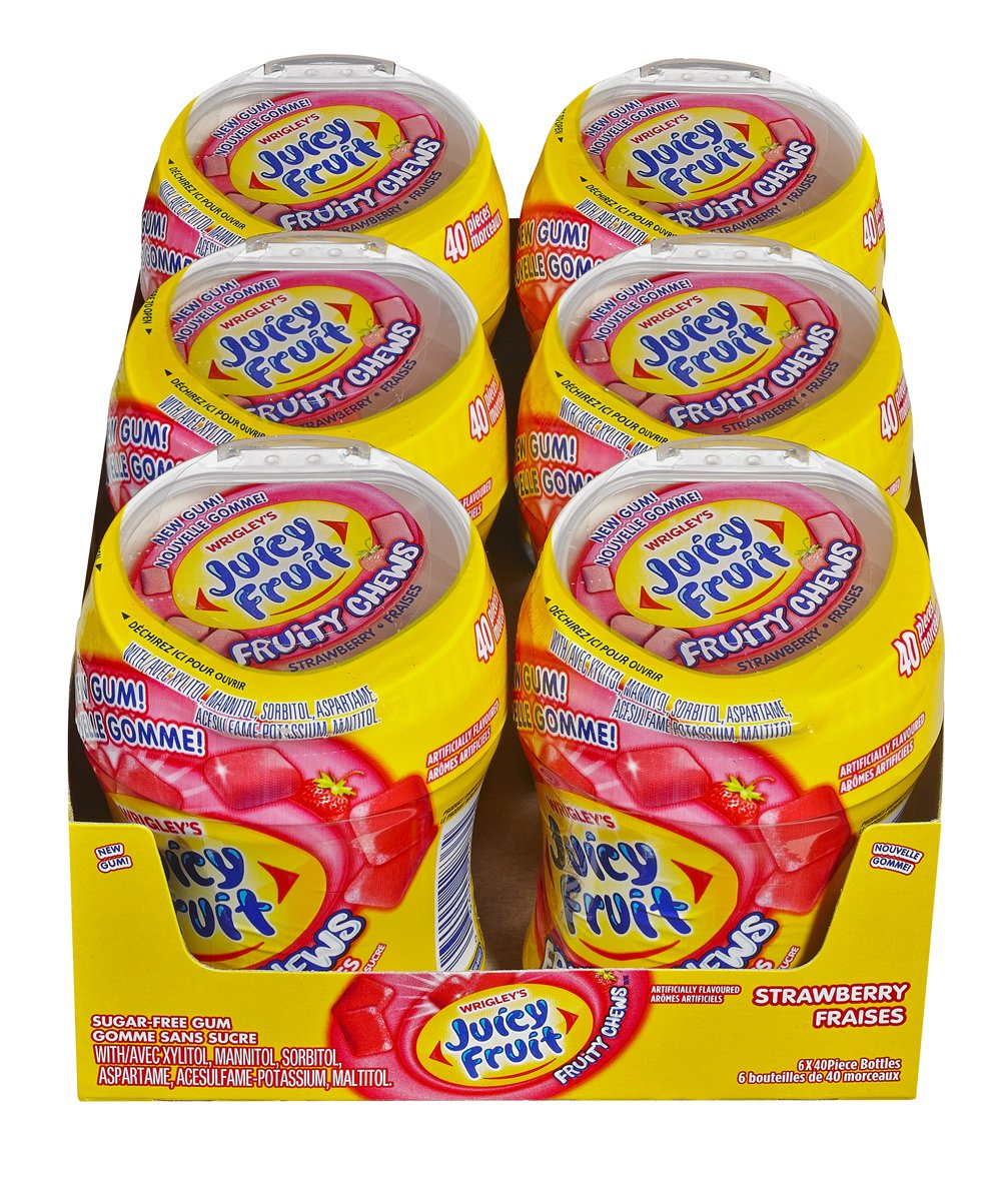 Juicy Fruit Sugar-Free Gum, Fruity Chews, Strawberry, 6x40ct, 240 Pieces {Imported from Canada}