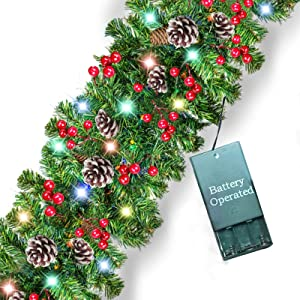Prelit Christmas Garland Decoration - [9 Foot by 10 Inch] Battery Operated Lighted Christmas Garland with 50 Lights/ Pine Cones/ Red Berries, Xmas Wreath Indoor Outdoor Home Mantel Decor(Colorful)
