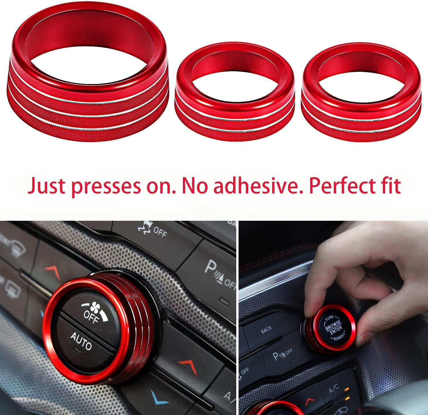 ToolEpic for Challenger Charger Accessories-Decor Trim Rings of 3 Aluminum Alloy Bright Red Air Conditioner Switch CD Button Knob Cover for Dodge Challenger Charger Scat Pack 2015-2020