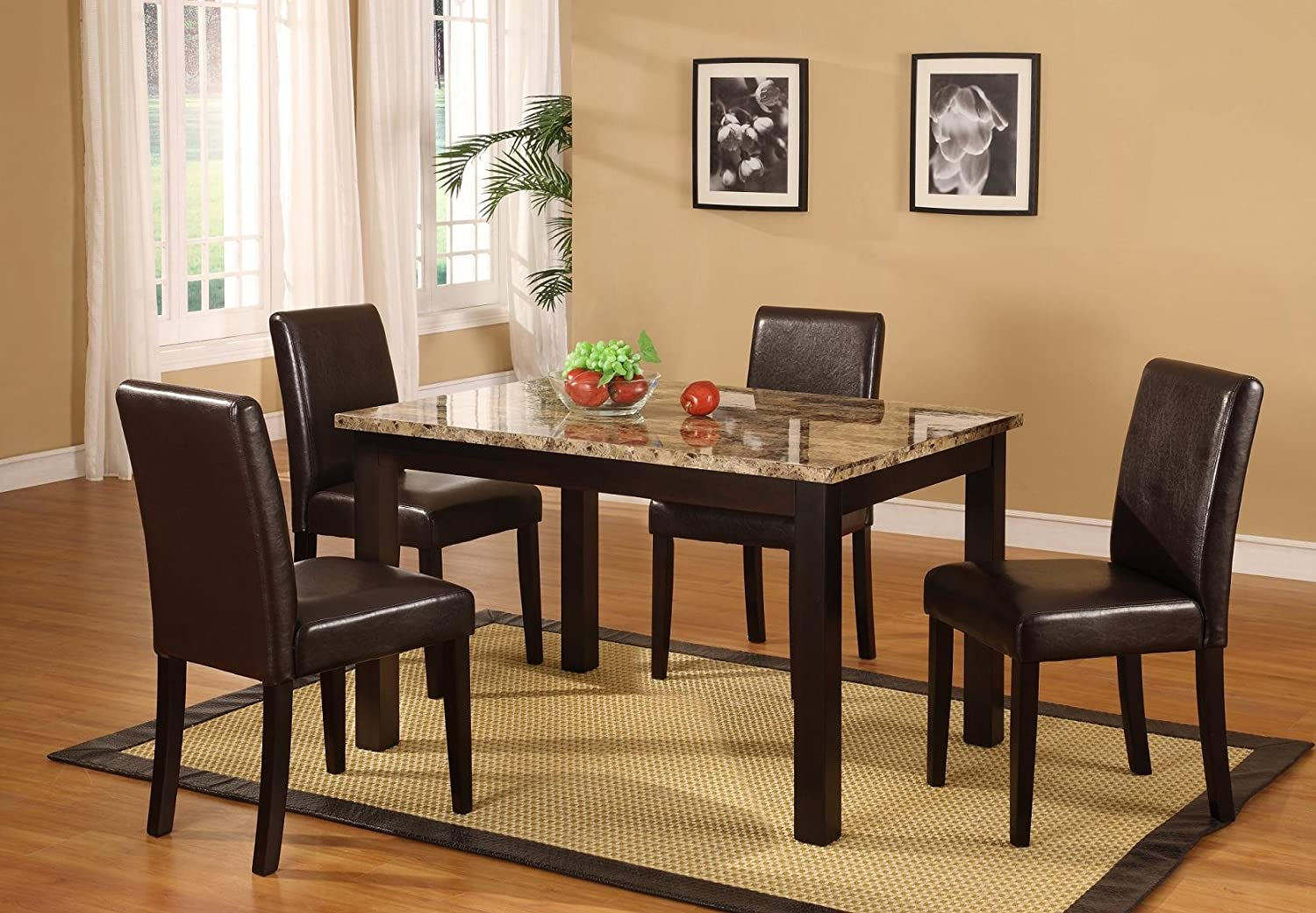 Amazon.com   Roundhill Furniture Briden Dark Artificial Marble Top Dinette  Dining Set   Table U0026 Chair Sets