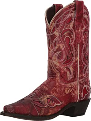 """Laredo No More Drama 01-3125-RD Women/'s 10/"""" Red Leather Cowboy Boots"""
