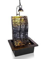 SereneLife - Fuente de Agua para Mesa eléctrica - Kit de Cascada Zen Decorativa portátil para Interiores y Exteriores con luz LED, Incluye Bomba Sumergible y Adaptador de 12 V