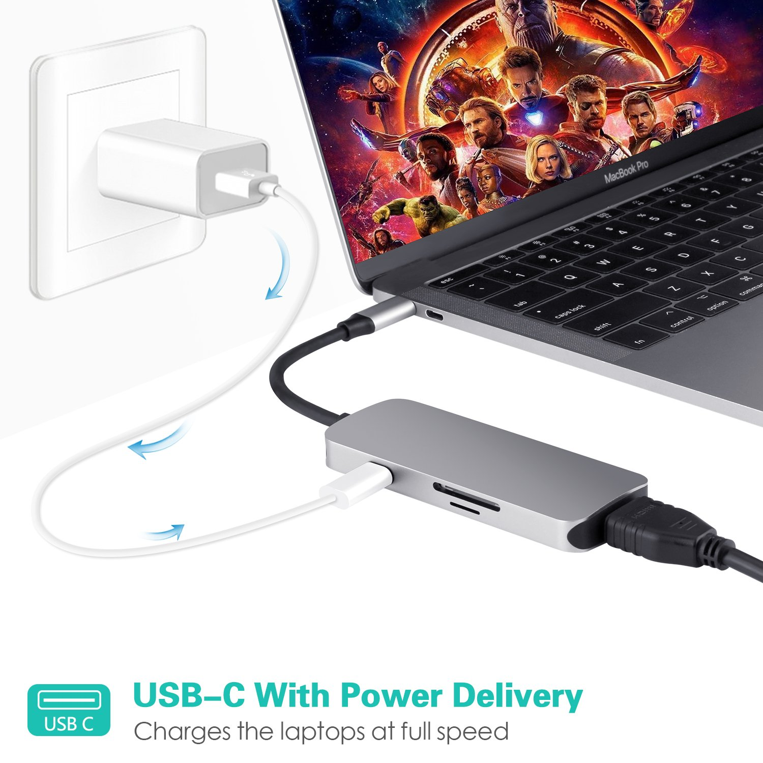 LC-dolida USB C hub MacBook, 7 in 1 USB C auf hdmi Adapter mit USB C Port,4K HDMI Anschluss,TF/SD/Micro-SD Kartenleser für MacBook/MacBook Pro 2016 2017 Samsung Galaxy S8 S8+ S9