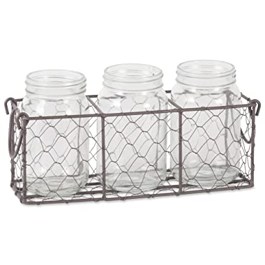 DII Farmhouse Vintage Chicken Wire Flatware Caddy with Clear Glass Jars, Rustic Bronze