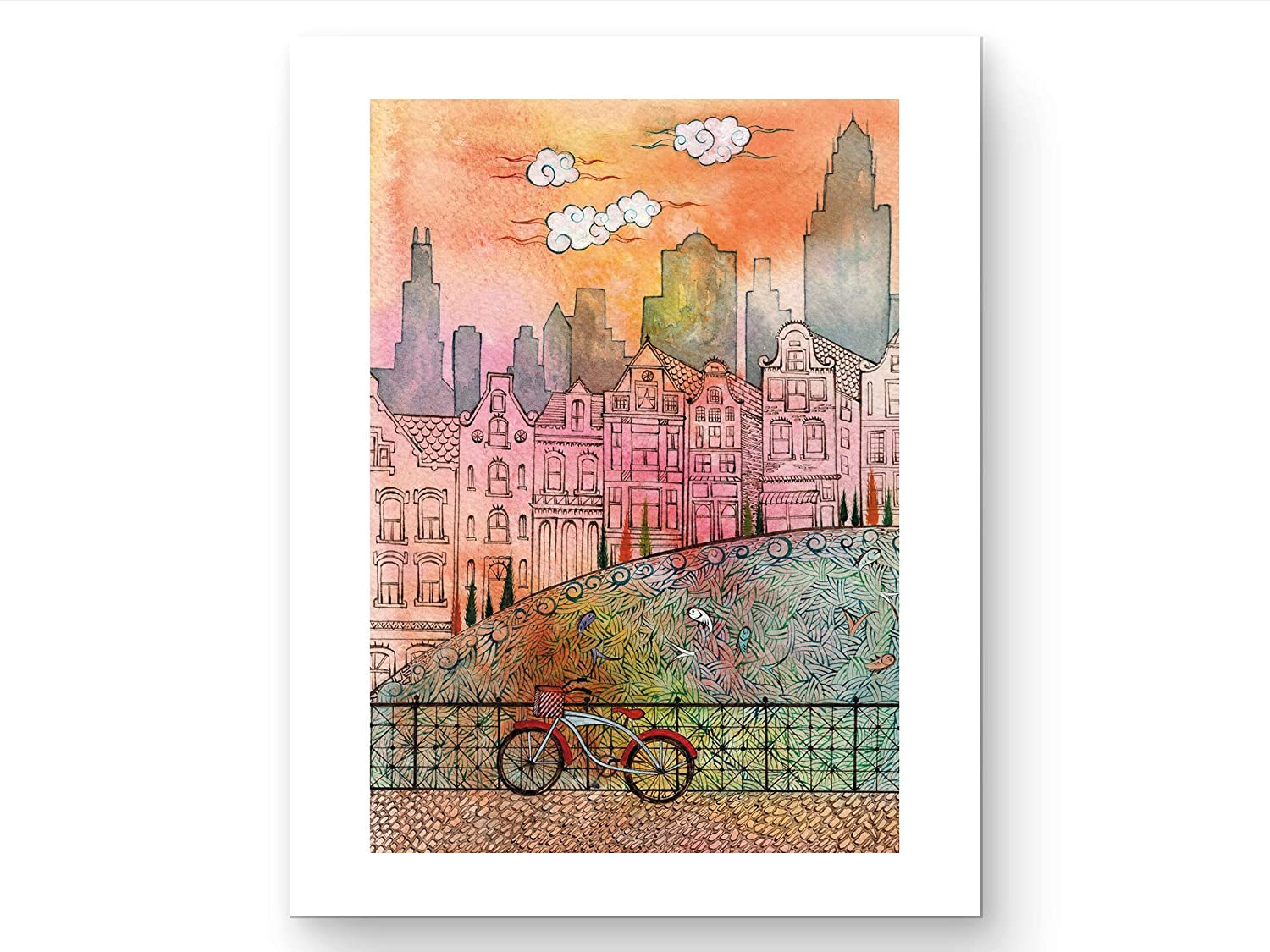 Chicago Art Print - Watercolor Wall Art - Bicycle Wall Art for Bedroom, Dining Room, Living Room, Bathroom - Unframed - 8x10 - Chicago Cityscape Wall Art