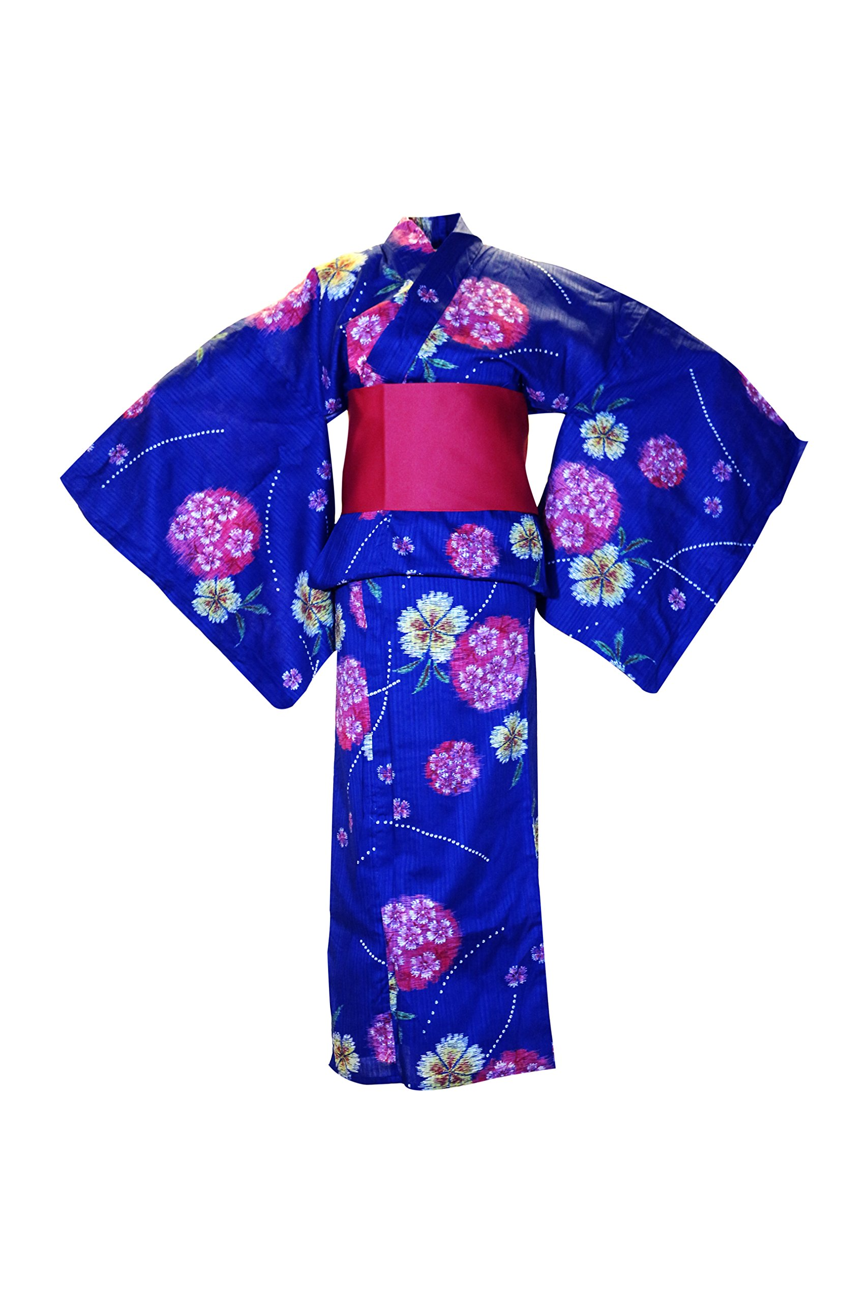 myKimono Women's Traditional Japanese Kimono Robe Yukata 505 with Red OBI Belt / Blue with Flower Pattern
