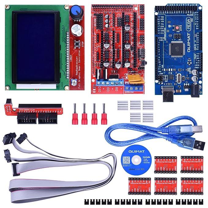 Kit de Impresora 3D para Arduino/Mega 2560 + RAMPS 1.4 + A4988 Controlador de Motor Pasos + LCD 12864 para Arduino Reprap Quimat
