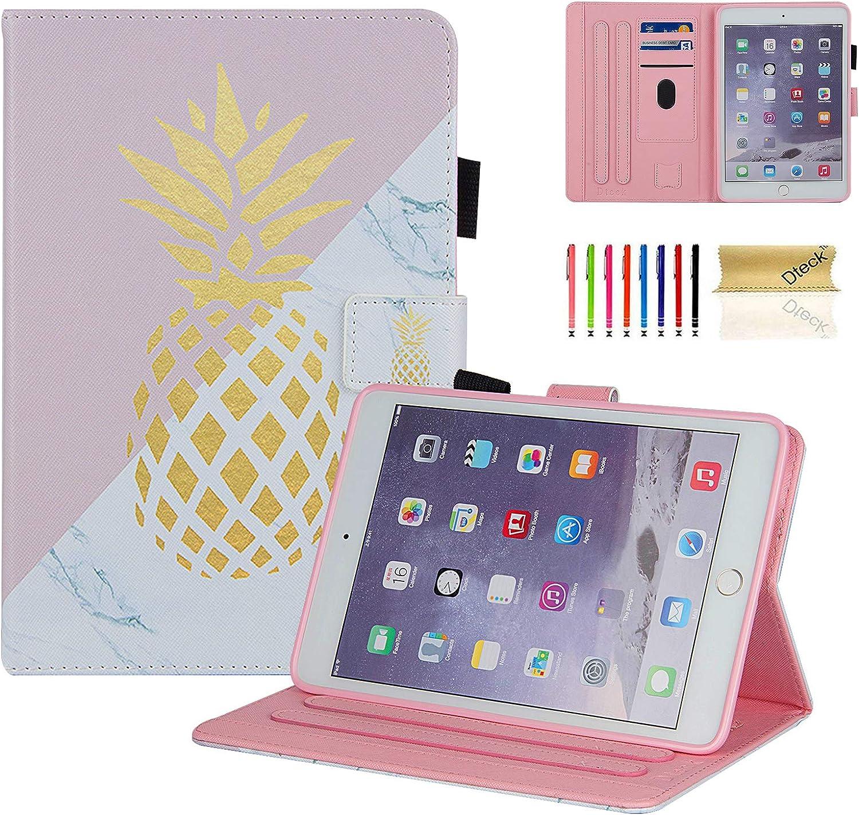Dteck iPad Mini 1/2/3/4/5 Case - Slim Fit Premium PU Leather [Multi-Angle View] Folio Stand Wallet Cover with Auto Wake/Sleep Smart for Apple iPad Mini 1/Mini 2/Mini 3/Mini 4, Marble Gold Pinapple