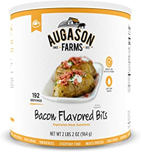 Augason Farms Bacon Flavored Bits Vegetarian Meat Substitute Emergency Food Storage Everyday Meal Prep No. 10 Can, 34 oz (5-70140)