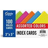 iScholar Index Cards, Ruled, Colored, 3 X 5-Inch, 100 Card Pack - 3516