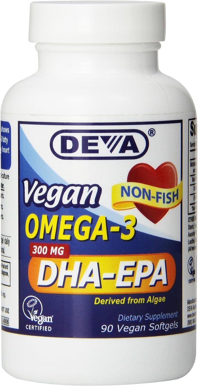 Deva Nutrition Vegan DHA-EPA Nutritional Supplement Softgel, 300 mg, 90 Count