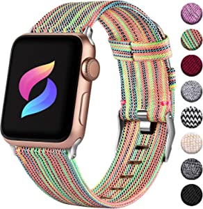Haveda Fabric Band Compatible for Apple Watch Series 6 5/4 40mm, Soft Woven Canvas Band for Apple Watch SE, iwatch Bands 38mm Womens, Cloth Dressy for Apple Watch 38mm Series 3 2 1 Men (Colour)