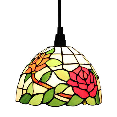 Gweat Tiffany 8 Inch Pastoral Style Stained Glass Rose Series Ceiling Lamp Pendant Light Dining Room