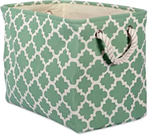 DII Printed Polyester, Collapsible and Convenient Storage Bin to Organize Office, Bedroom, Closet, Kid's Toys, Laundry -Medium Rectangle, Bright Green Lattice