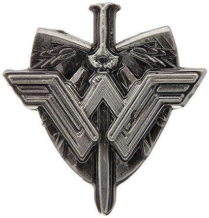 Amazon com: DC Wonder Woman Sword & Shield Logo Pewter Lapel