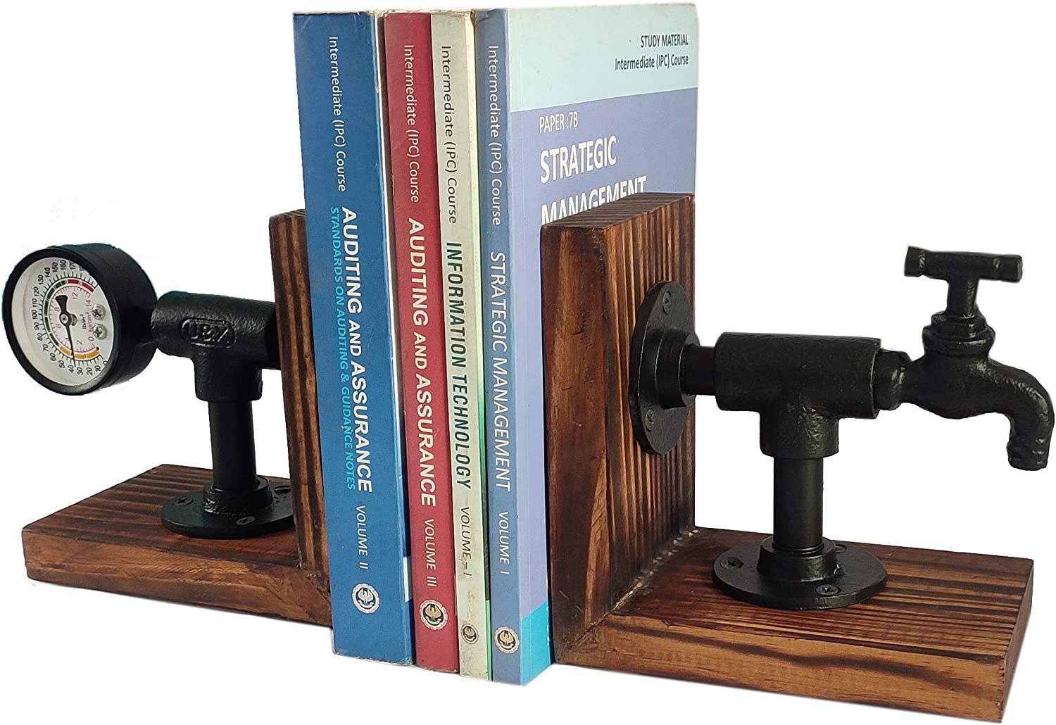 DECONOOR Industrial Style Art Bookend, Pair of Tap & Gauge Design and Antique Torched Wood