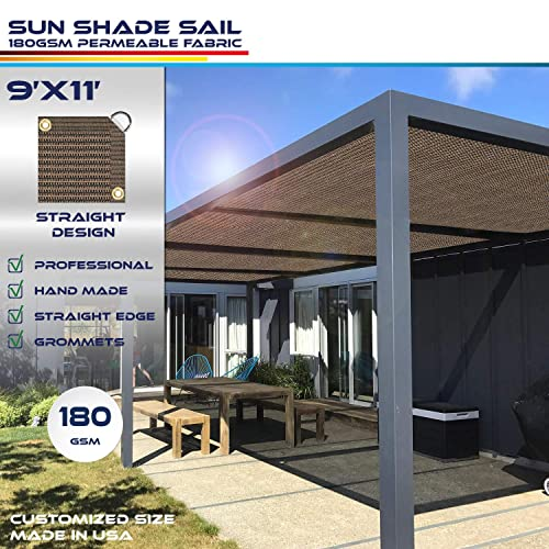 Windscreen4less Straight Edge Sun Shade Sail,Rectangle Outdoor Shade Cloth Pergola Cover UV Block Fabric 180GSM – Custom Size Brown 9 X 11